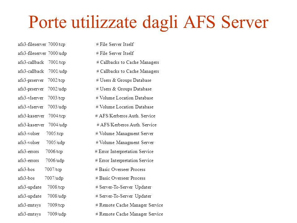Porte utilizzate dagli AFS Server afs3-fileserver 7000/tcp # File Server Itself afs3-fileserver 7000/udp # File Server Itself afs3-callback 7001/tcp #