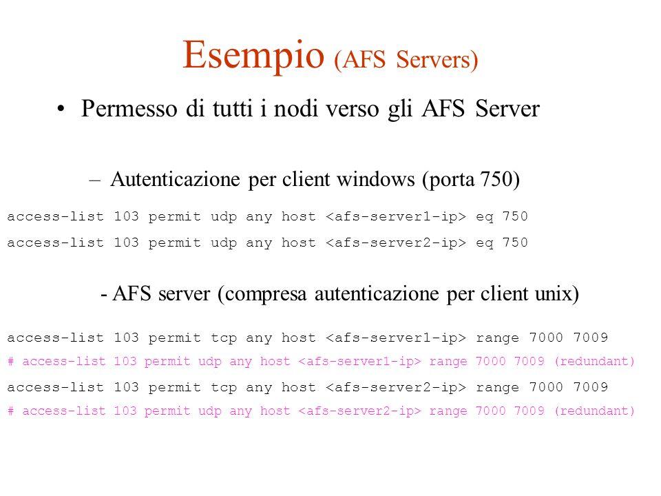Esempio (AFS Servers) Permesso di tutti i nodi verso gli AFS Server –Autenticazione per client windows (porta 750) access-list 103 permit tcp any host