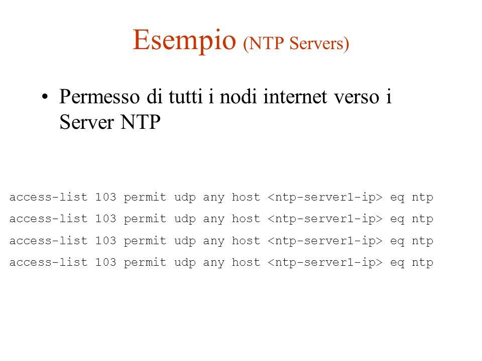 Esempio (NTP Servers) Permesso di tutti i nodi internet verso i Server NTP access-list 103 permit udp any host eq ntp