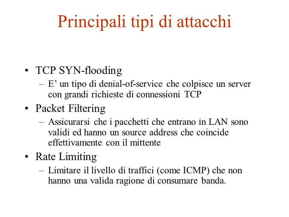 Principali tipi di attacchi TCP SYN-flooding –E un tipo di denial-of-service che colpisce un server con grandi richieste di connessioni TCP Packet Fil