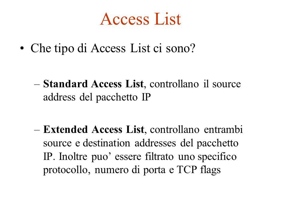 Access List Che tipo di Access List ci sono? –Standard Access List, controllano il source address del pacchetto IP –Extended Access List, controllano