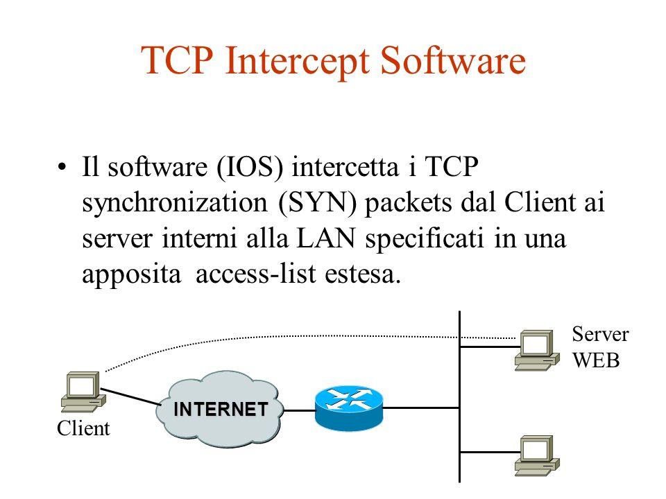 TCP Intercept Software Il software (IOS) intercetta i TCP synchronization (SYN) packets dal Client ai server interni alla LAN specificati in una appos