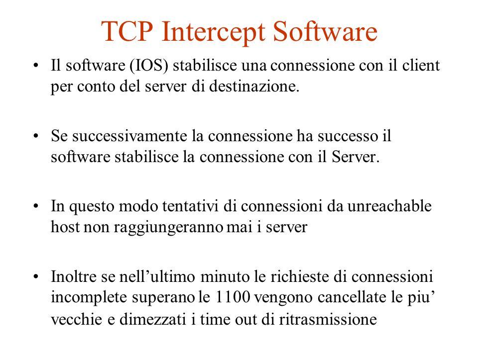 TCP Intercept Software Il software (IOS) stabilisce una connessione con il client per conto del server di destinazione. Se successivamente la connessi