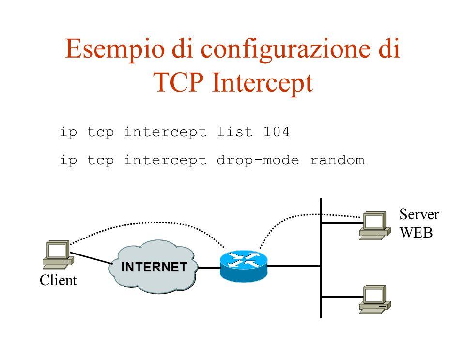 Esempio di configurazione di TCP Intercept ip tcp intercept list 104 ip tcp intercept drop-mode random Server WEB INTERNET Client