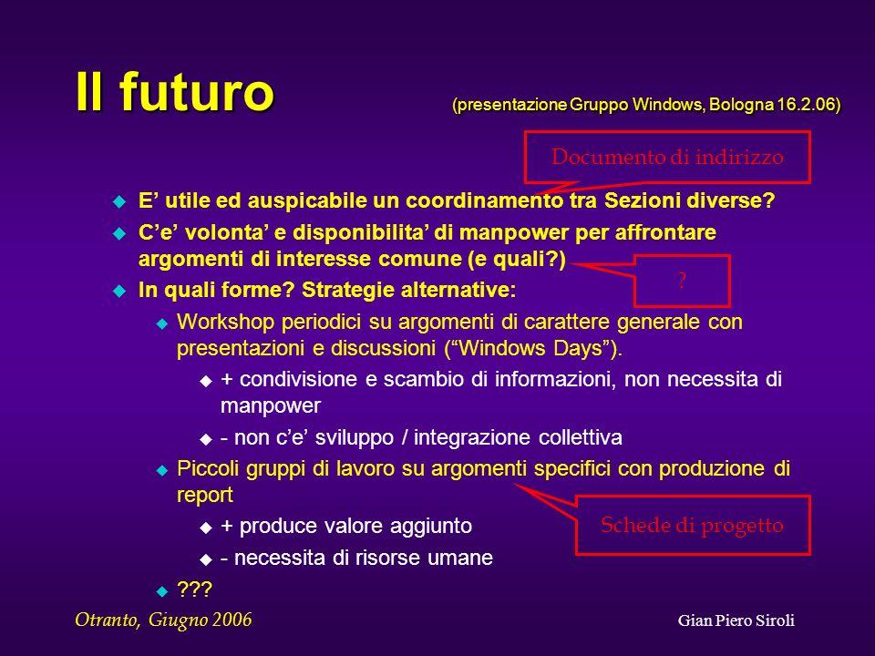 Otranto, Giugno 2006 Gian Piero Siroli Il futuro (presentazione Gruppo Windows, Bologna 16.2.06) u E utile ed auspicabile un coordinamento tra Sezioni diverse.