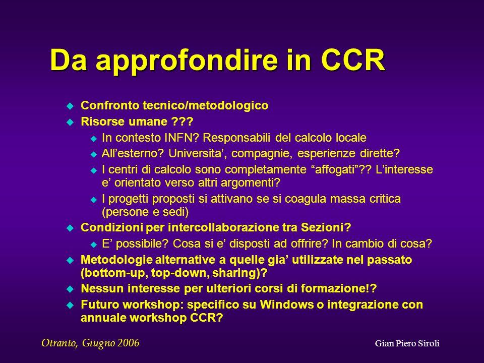 Otranto, Giugno 2006 Gian Piero Siroli Da approfondire in CCR u Confronto tecnico/metodologico u Risorse umane .