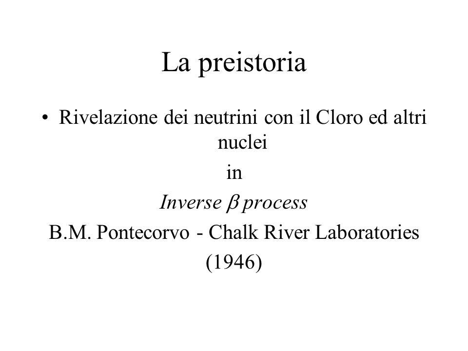 La preistoria Rivelazione dei neutrini con il Cloro ed altri nuclei in Inverse process B.M. Pontecorvo - Chalk River Laboratories (1946)