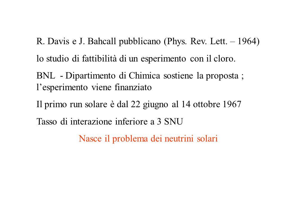 R. Davis e J. Bahcall pubblicano (Phys. Rev. Lett. – 1964) lo studio di fattibilità di un esperimento con il cloro. BNL - Dipartimento di Chimica sost