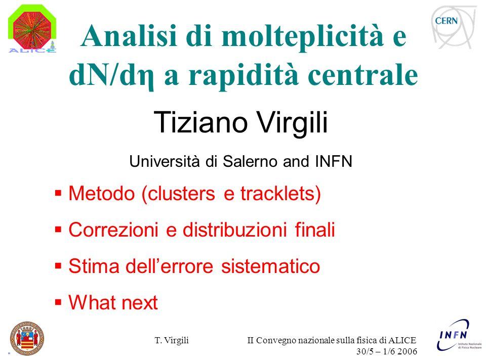 T. Virgili II Convegno nazionale sulla fisica di ALICE 30/5 – 1/6 2006 Tiziano Virgili Università di Salerno and INFN Metodo (clusters e tracklets) Co