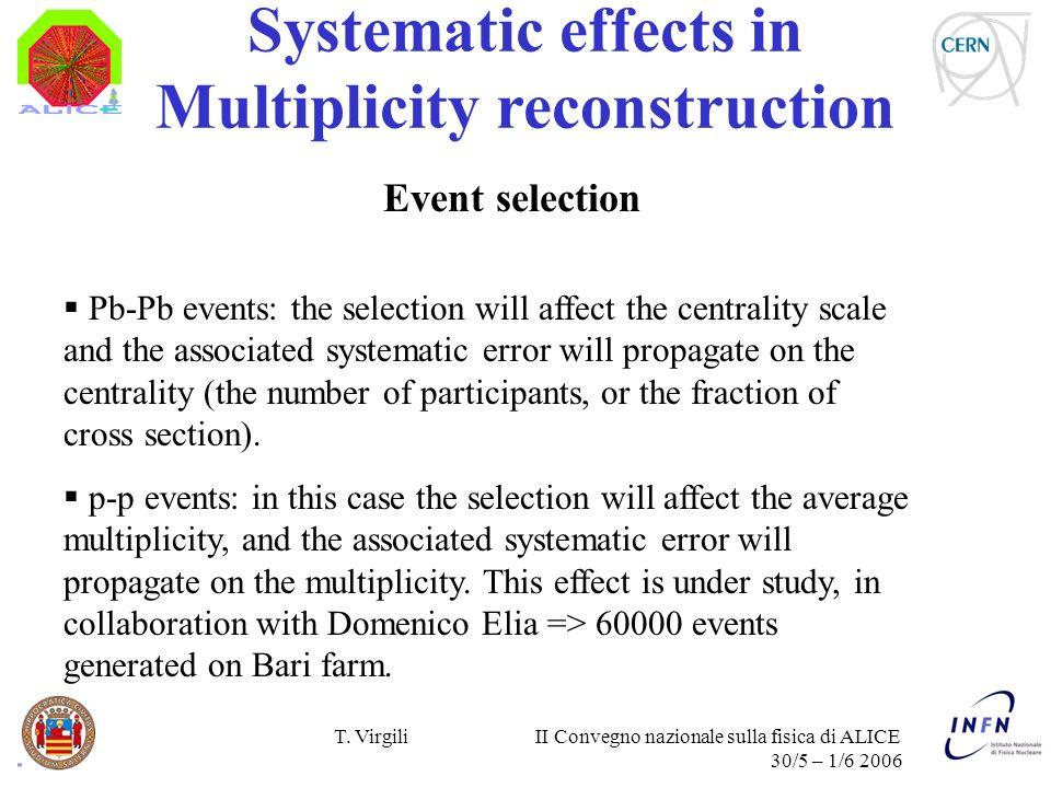 T. Virgili II Convegno nazionale sulla fisica di ALICE 30/5 – 1/6 2006 Systematic effects in Multiplicity reconstruction Event selection Pb-Pb events: