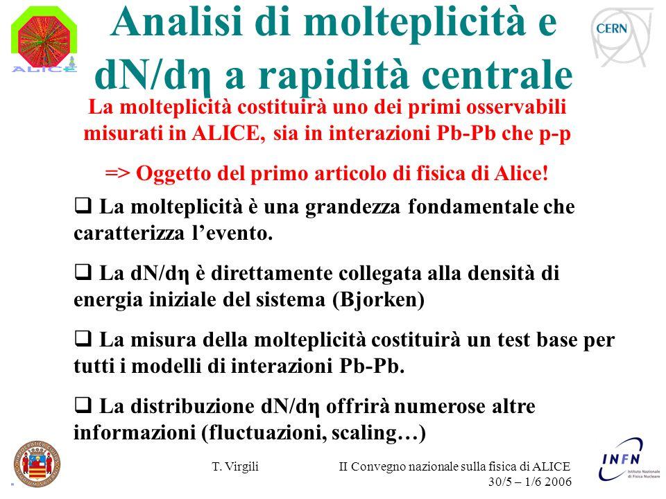 T. Virgili II Convegno nazionale sulla fisica di ALICE 30/5 – 1/6 2006 La molteplicità è una grandezza fondamentale che caratterizza levento. La dN/dη