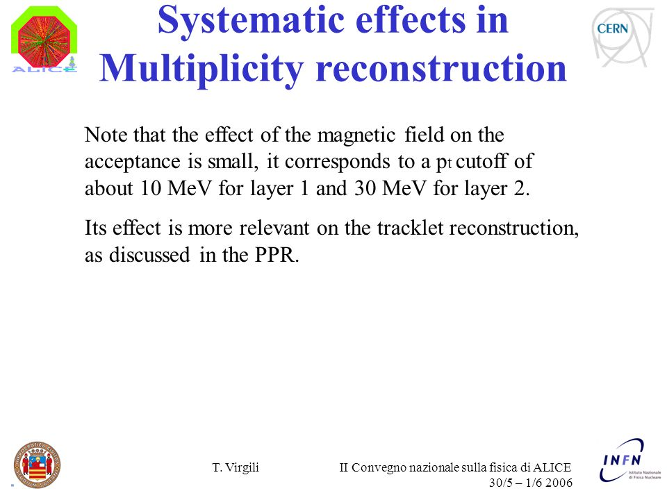 T. Virgili II Convegno nazionale sulla fisica di ALICE 30/5 – 1/6 2006 Systematic effects in Multiplicity reconstruction Note that the effect of the m