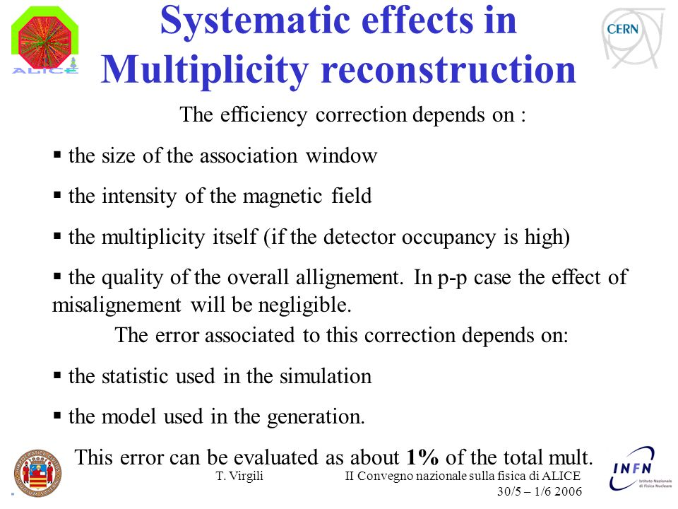 T. Virgili II Convegno nazionale sulla fisica di ALICE 30/5 – 1/6 2006 Systematic effects in Multiplicity reconstruction The error associated to this
