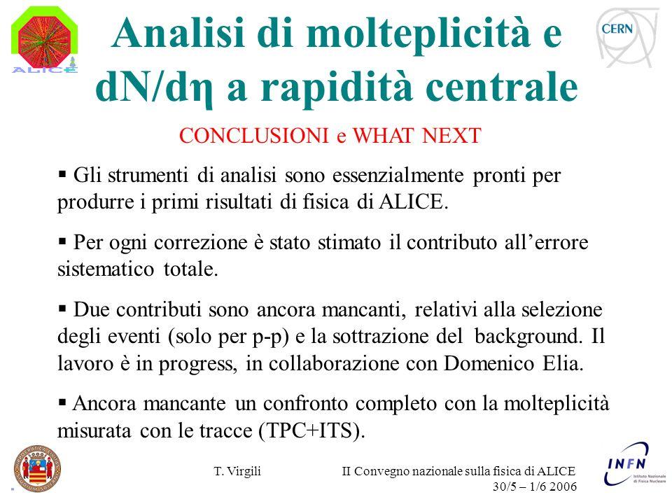 T. Virgili II Convegno nazionale sulla fisica di ALICE 30/5 – 1/6 2006 CONCLUSIONI e WHAT NEXT Gli strumenti di analisi sono essenzialmente pronti per