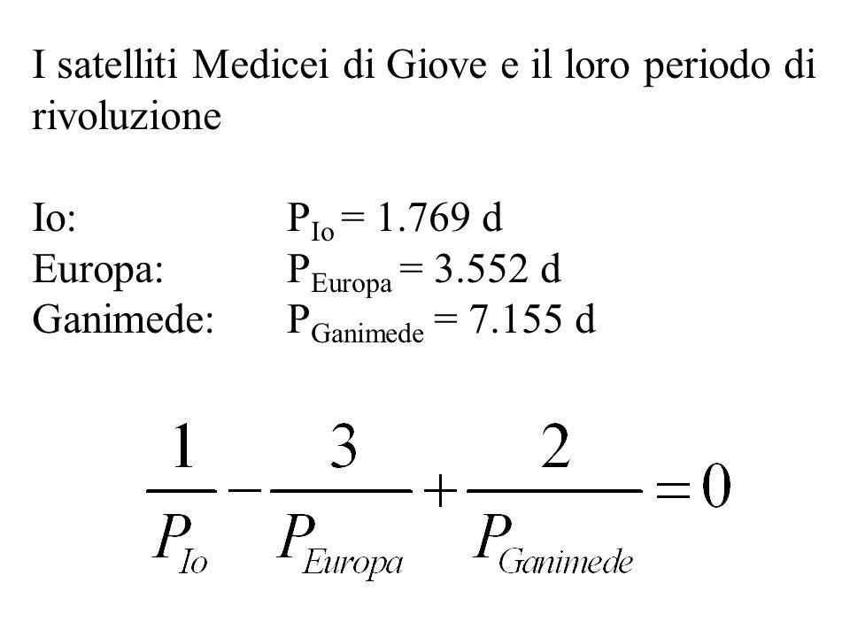 I satelliti Medicei di Giove e il loro periodo di rivoluzione Io: P Io = 1.769 d Europa:P Europa = 3.552 d Ganimede:P Ganimede = 7.155 d