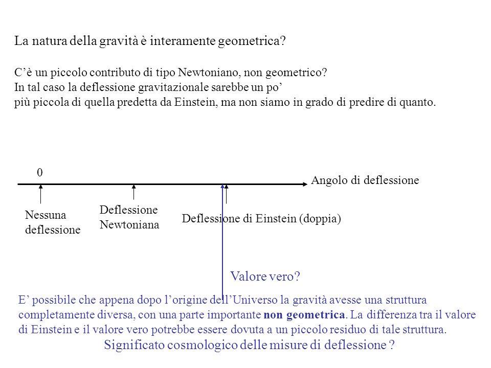 La natura della gravità è interamente geometrica? Cè un piccolo contributo di tipo Newtoniano, non geometrico? In tal caso la deflessione gravitaziona