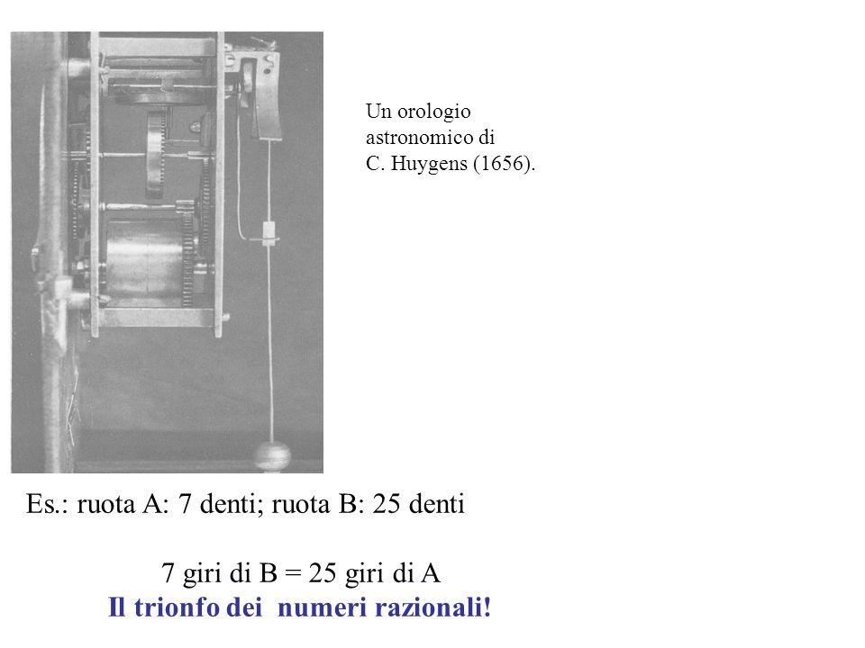 Un orologio astronomico di C. Huygens (1656). Es.: ruota A: 7 denti; ruota B: 25 denti 7 giri di B = 25 giri di A Il trionfo dei numeri razionali!