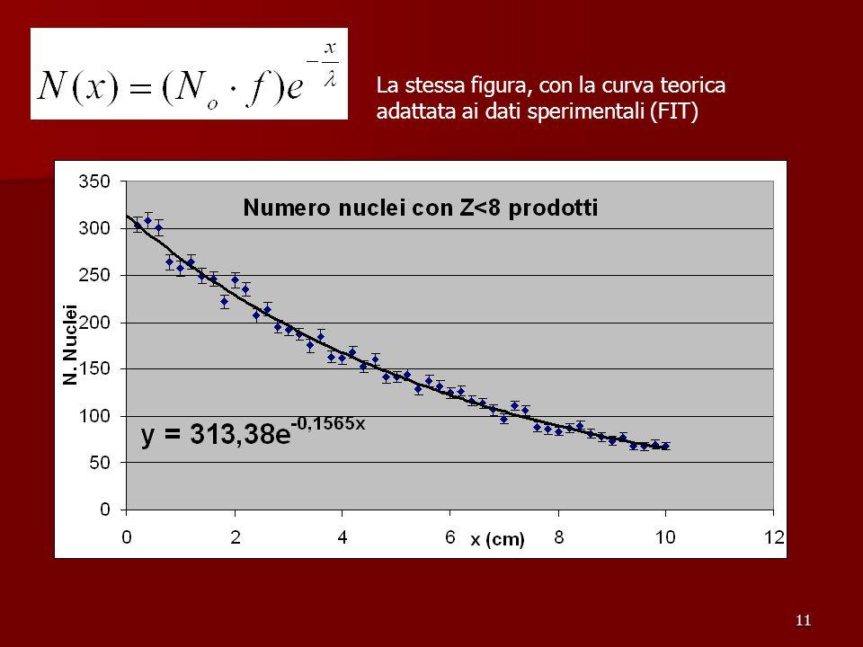 11 La stessa figura, con la curva teorica adattata ai dati sperimentali (FIT)