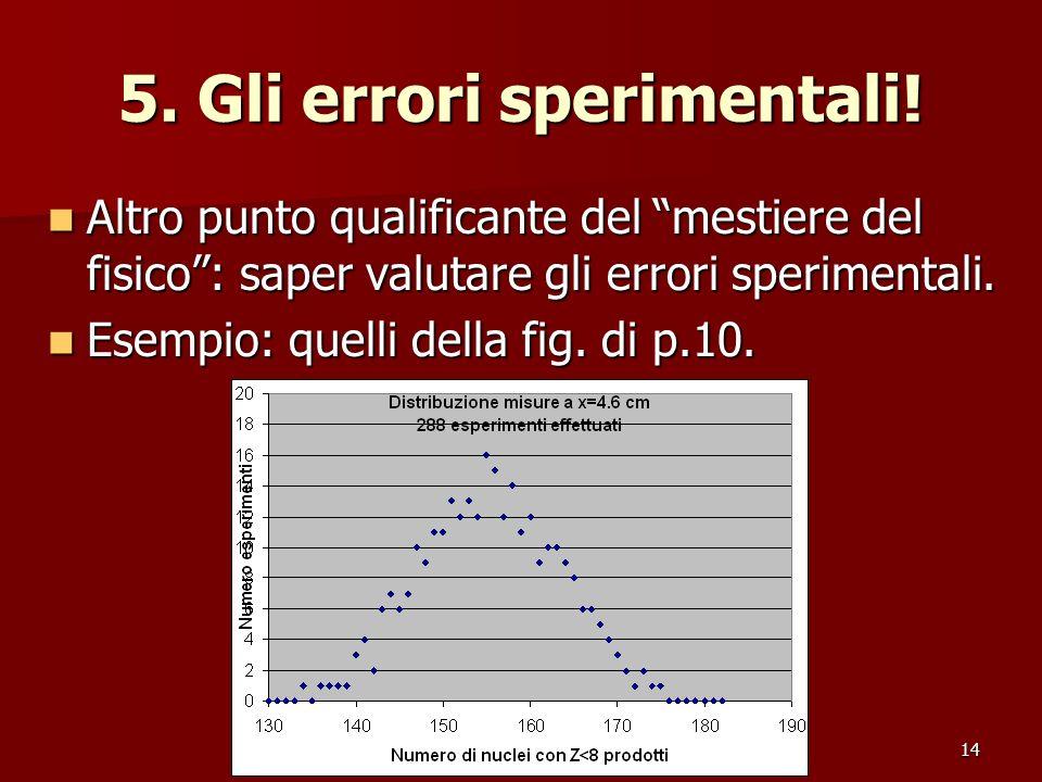 14 5. Gli errori sperimentali! Altro punto qualificante del mestiere del fisico: saper valutare gli errori sperimentali. Altro punto qualificante del