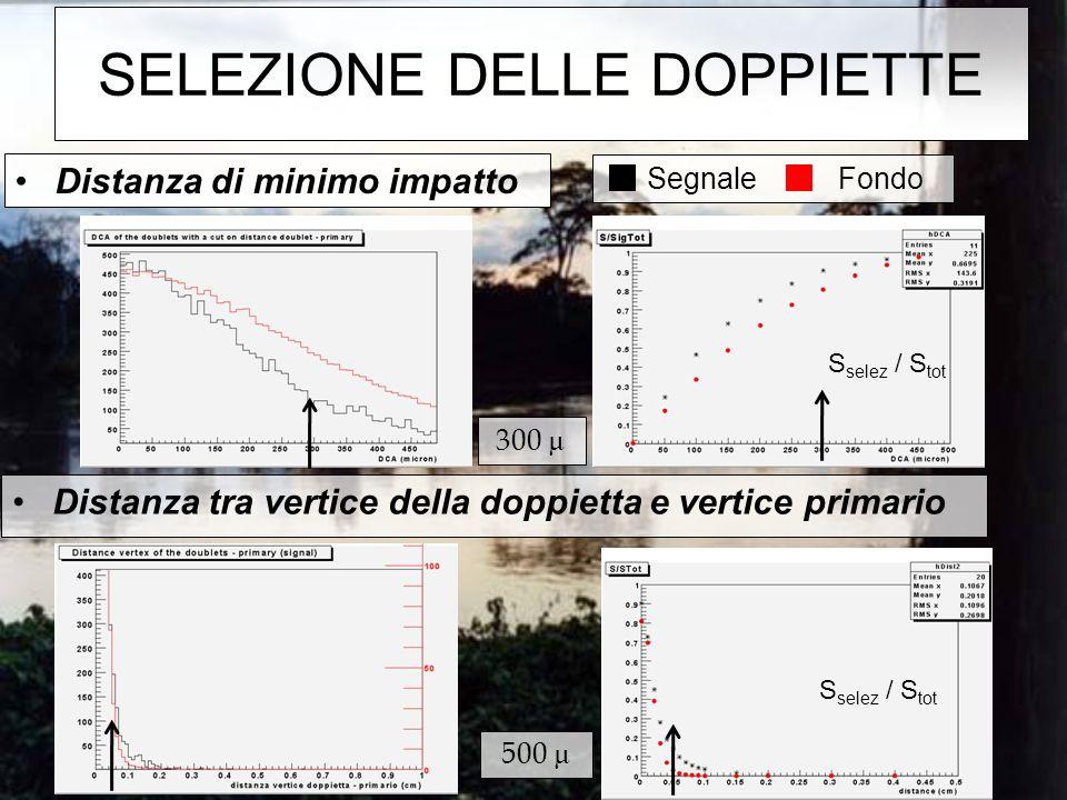 Segnale Fondo SELEZIONE DELLE DOPPIETTE Distanza tra vertice della doppietta e vertice primario Distanza di minimo impatto 300 µ 500 µ S selez / S tot