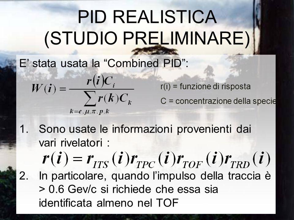 PID REALISTICA (STUDIO PRELIMINARE) E stata usata la Combined PID: 1.Sono usate le informazioni provenienti dai vari rivelatori : 2.In particolare, quando limpulso della traccia è > 0.6 Gev/c si richiede che essa sia identificata almeno nel TOF r(i) = funzione di risposta C = concentrazione della specie