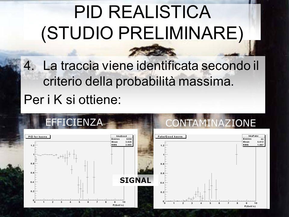 PID REALISTICA (STUDIO PRELIMINARE) 4.La traccia viene identificata secondo il criterio della probabilità massima.