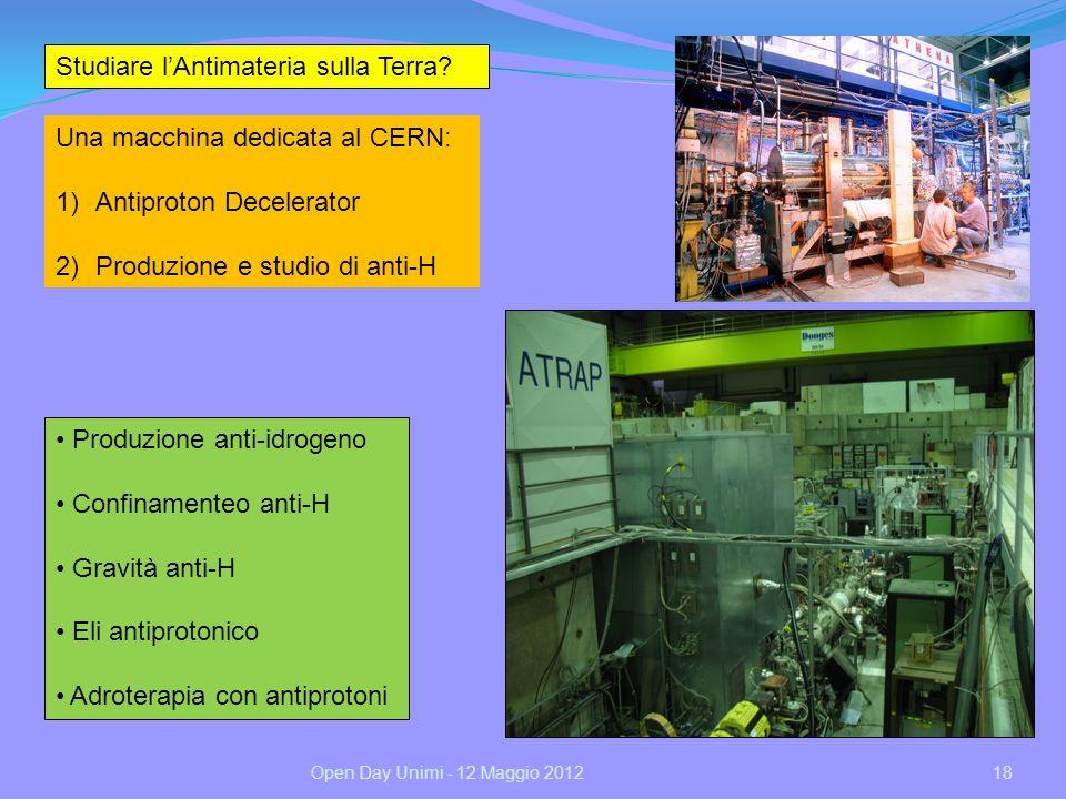 18 Studiare lAntimateria sulla Terra? Una macchina dedicata al CERN: 1)Antiproton Decelerator 2)Produzione e studio di anti-H Produzione anti-idrogeno