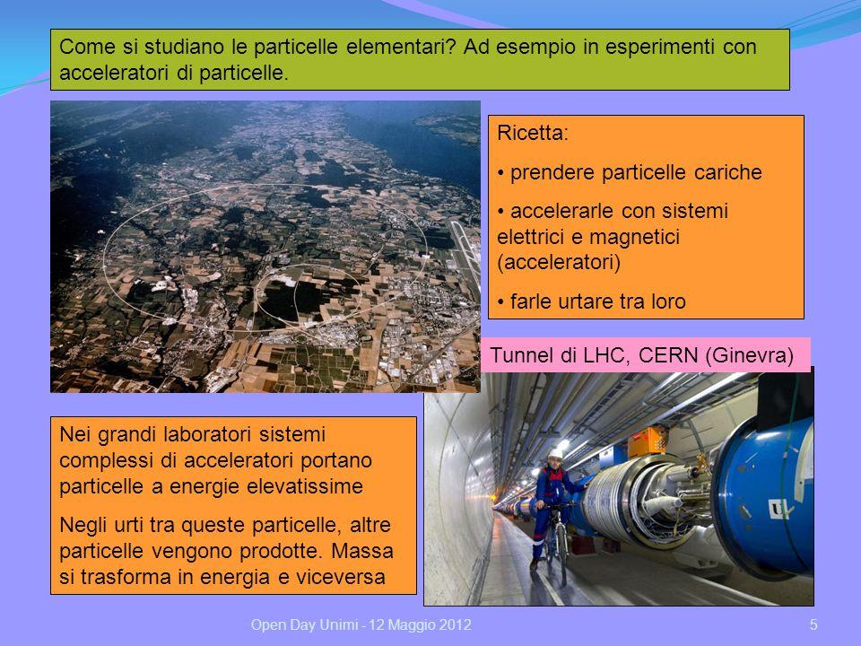 Come si studiano le particelle elementari? Ad esempio in esperimenti con acceleratori di particelle. Tunnel di LHC, CERN (Ginevra) Ricetta: prendere p