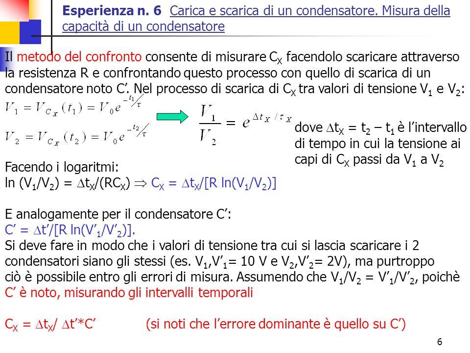 6 Esperienza n. 6 Carica e scarica di un condensatore. Misura della capacità di un condensatore Il metodo del confronto consente di misurare C X facen