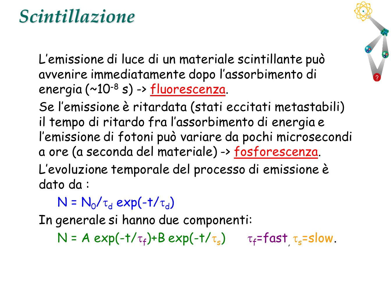 9Scintillazione Lemissione di luce di un materiale scintillante può avvenire immediatamente dopo lassorbimento di energia (~10 -8 s) -> fluorescenza.