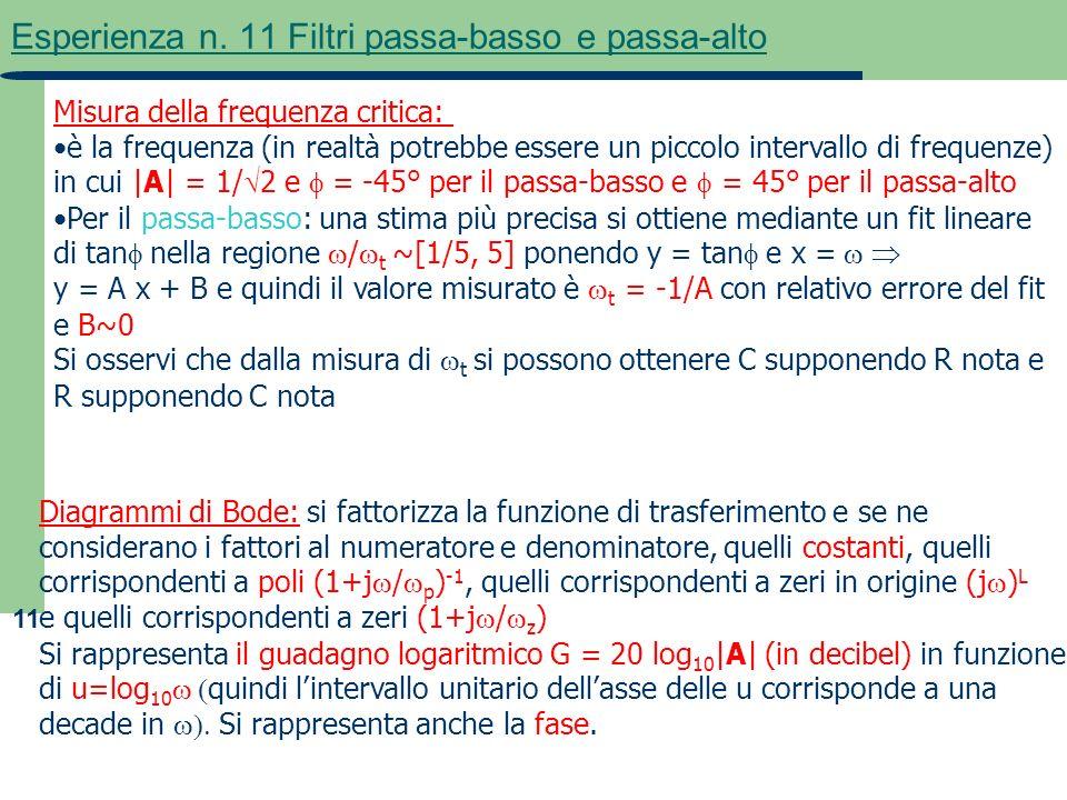 11 Esperienza n. 11 Filtri passa-basso e passa-alto Misura della frequenza critica: è la frequenza (in realtà potrebbe essere un piccolo intervallo di