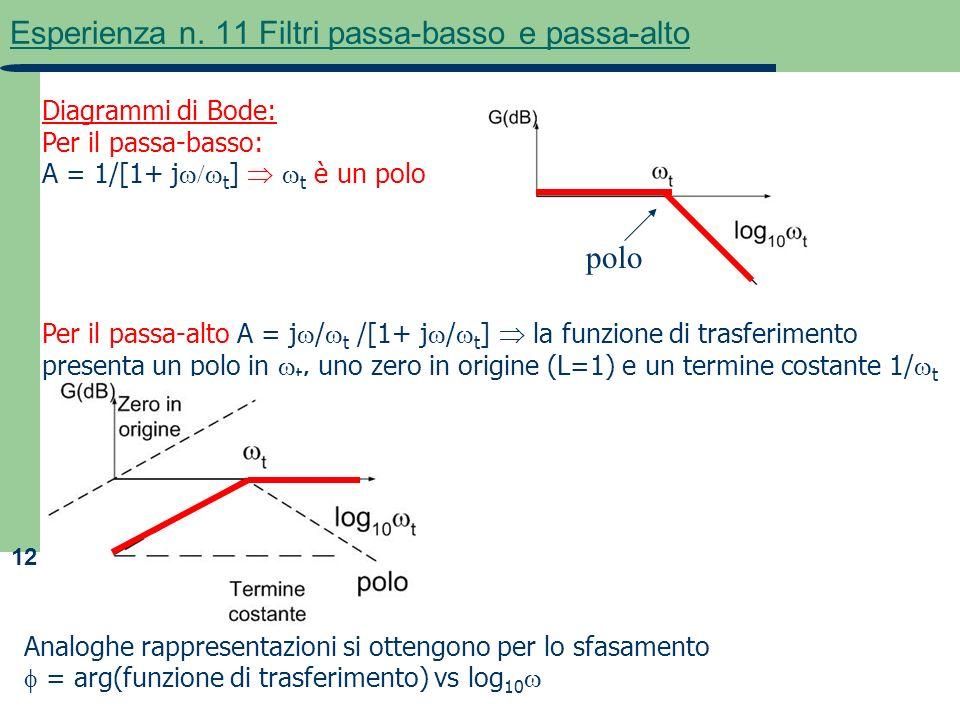 12 Esperienza n. 11 Filtri passa-basso e passa-alto Diagrammi di Bode: Per il passa-basso: A = 1/[1+ j t ] t è un polo Per il passa-alto A = j / t /[1