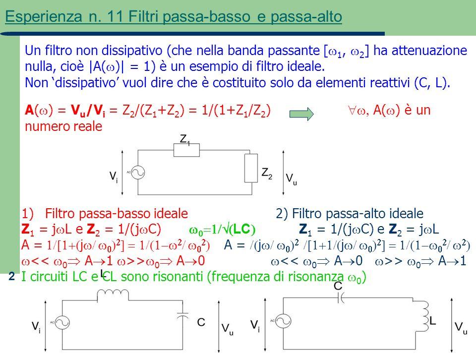 2 Esperienza n. 11 Filtri passa-basso e passa-alto Un filtro non dissipativo (che nella banda passante [ 1, 2 ] ha attenuazione nulla, cioè |A( )| = 1