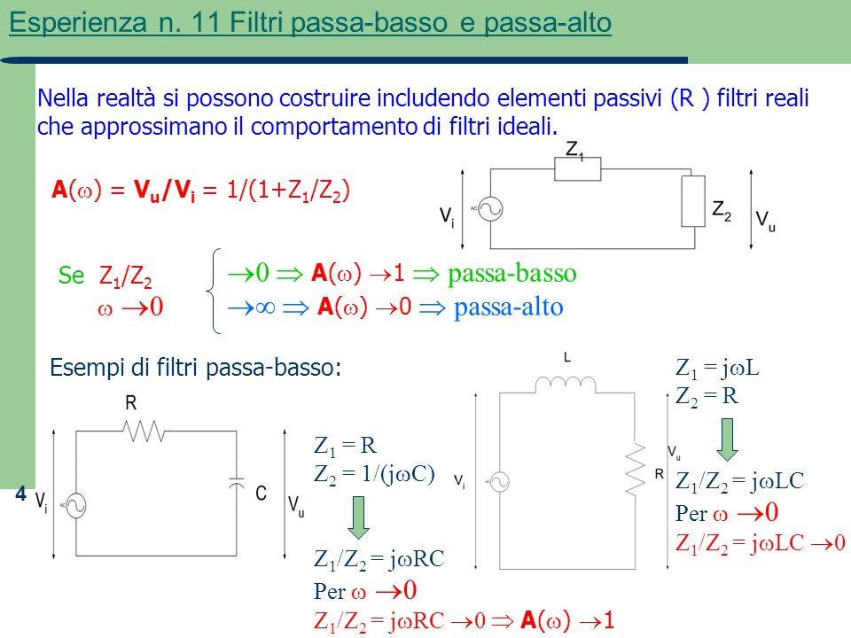 4 Esperienza n. 11 Filtri passa-basso e passa-alto Nella realtà si possono costruire includendo elementi passivi (R ) filtri reali che approssimano il