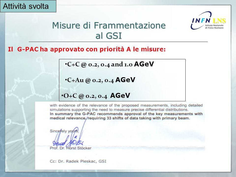 Misure di Frammentazione al GSI Il G-PAC ha approvato con priorità A le misure: LNS LNS C+C @ 0.2, 0.4 and 1.0 AGeV C+Au @ 0.2, 0.4 AGeV O+C @ 0.2, 0.4 AGeV Attività svolta