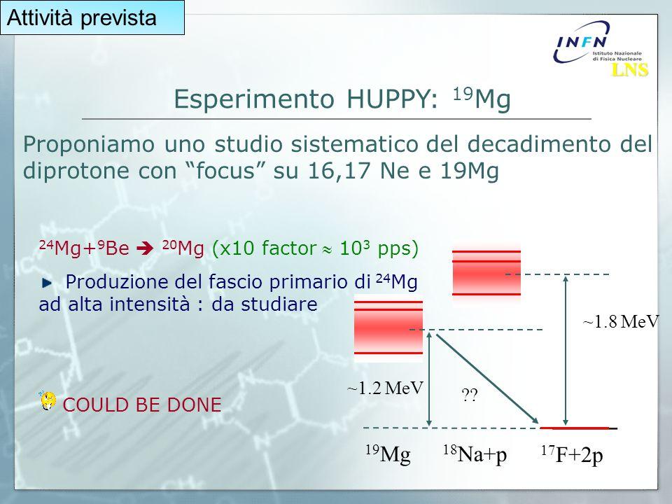 Esperimento HUPPY: 19 Mg ~1.8 MeV ~1.2 MeV .