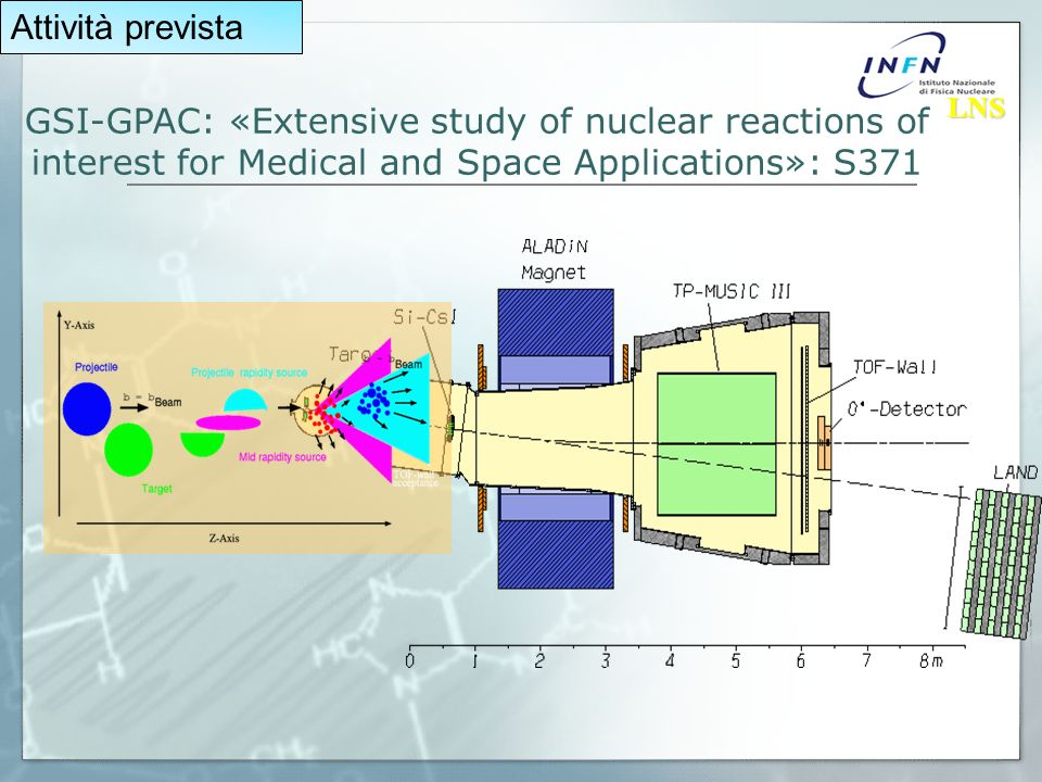 GSI-GPAC: «Extensive study of nuclear reactions of interest for Medical and Space Applications»: S371 LNS LNS Attività prevista
