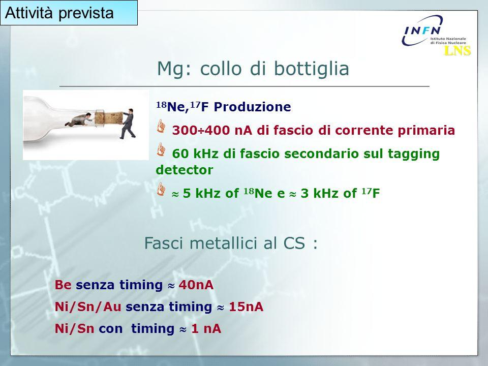Mg: collo di bottiglia 18 Ne, 17 F Produzione 300÷400 nA di fascio di corrente primaria 60 kHz di fascio secondario sul tagging detector 5 kHz of 18 Ne e 3 kHz of 17 F Fasci metallici al CS : Be senza timing 40nA Ni/Sn/Au senza timing 15nA Ni/Sn con timing 1 nA Attività prevista LNS LNS