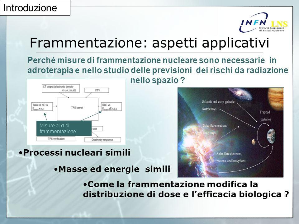 Frammentazione: aspetti applicativi Perché misure di frammentazione nucleare sono necessarie in adroterapia e nello studio delle previsioni dei rischi da radiazione nello spazio .