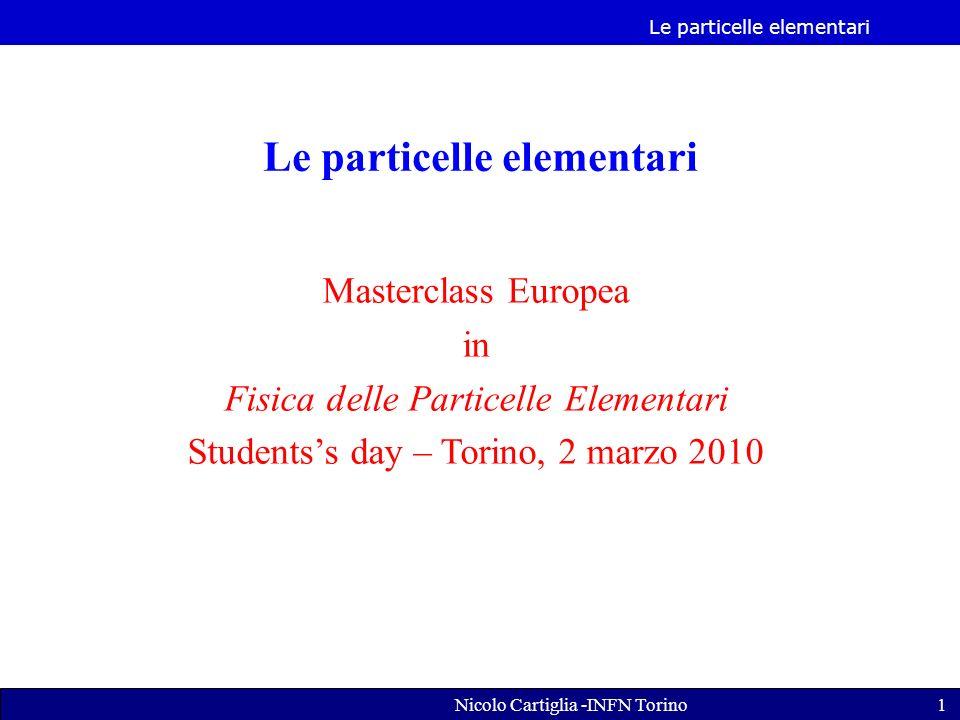 Le particelle elementari Nicolo Cartiglia -INFN Torino1 Le particelle elementari Masterclass Europea in Fisica delle Particelle Elementari Studentss day – Torino, 2 marzo 2010