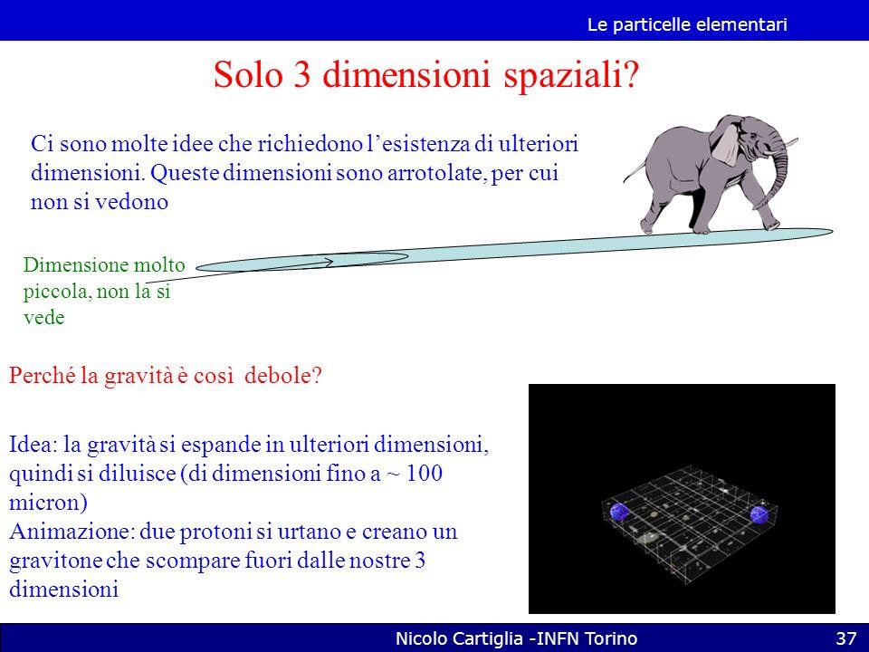 Le particelle elementari Nicolo Cartiglia -INFN Torino37 Solo 3 dimensioni spaziali.