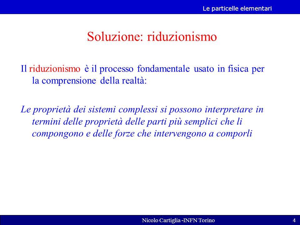 Le particelle elementari Nicolo Cartiglia -INFN Torino5 Una proprietà emergente è una proprietà di qualche totalità complessa che non può essere spiegata nei termini delle proprietà delle sue parti.