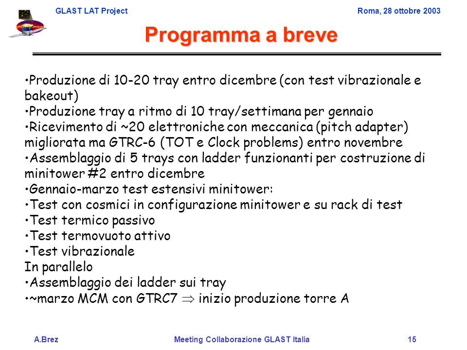 GLAST LAT ProjectRoma, 28 ottobre 2003 A.Brez Meeting Collaborazione GLAST Italia 15 Programma a breve Produzione di 10-20 tray entro dicembre (con test vibrazionale e bakeout) Produzione tray a ritmo di 10 tray/settimana per gennaio Ricevimento di ~20 elettroniche con meccanica (pitch adapter) migliorata ma GTRC-6 (TOT e Clock problems) entro novembre Assemblaggio di 5 trays con ladder funzionanti per costruzione di minitower #2 entro dicembre Gennaio-marzo test estensivi minitower: Test con cosmici in configurazione minitower e su rack di test Test termico passivo Test termovuoto attivo Test vibrazionale In parallelo Assemblaggio dei ladder sui tray ~marzo MCM con GTRC7 inizio produzione torre A