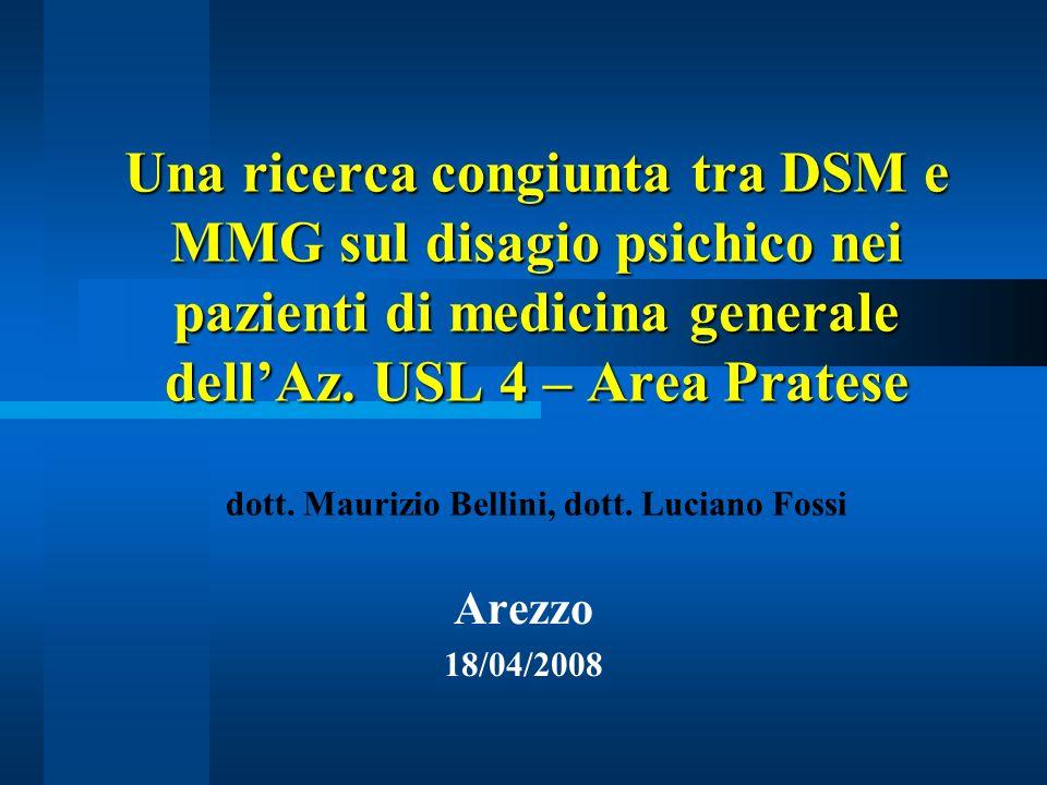 Una ricerca congiunta tra DSM e MMG sul disagio psichico nei pazienti di medicina generale dellAz. USL 4 – Area Pratese Una ricerca congiunta tra DSM