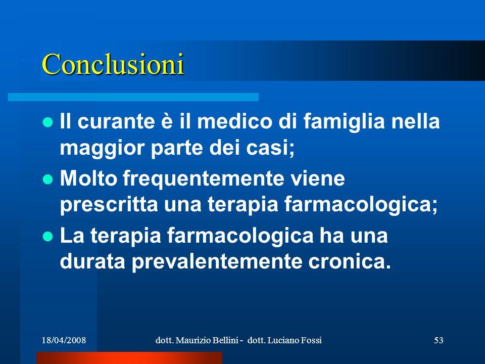 18/04/2008dott. Maurizio Bellini - dott. Luciano Fossi53 Conclusioni Il curante è il medico di famiglia nella maggior parte dei casi; Molto frequentem