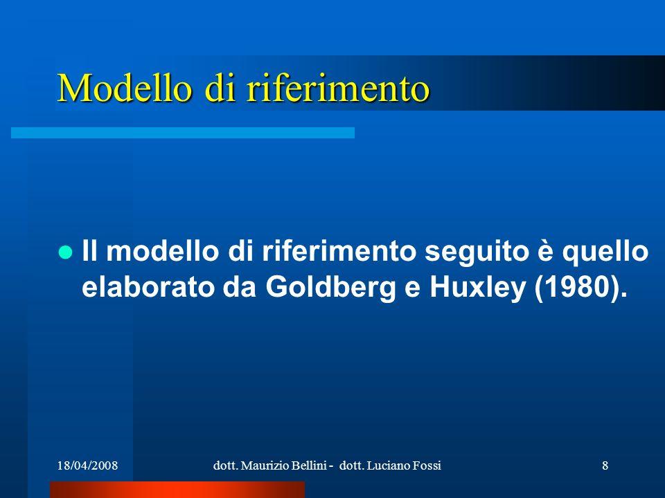 18/04/2008dott. Maurizio Bellini - dott. Luciano Fossi8 Modello di riferimento Il modello di riferimento seguito è quello elaborato da Goldberg e Huxl