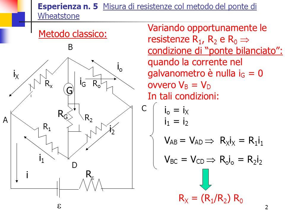 2 Esperienza n. 5 Misura di resistenze col metodo del ponte di Wheatstone Variando opportunamente le resistenze R 1, R 2 e R 0 condizione di ponte bil