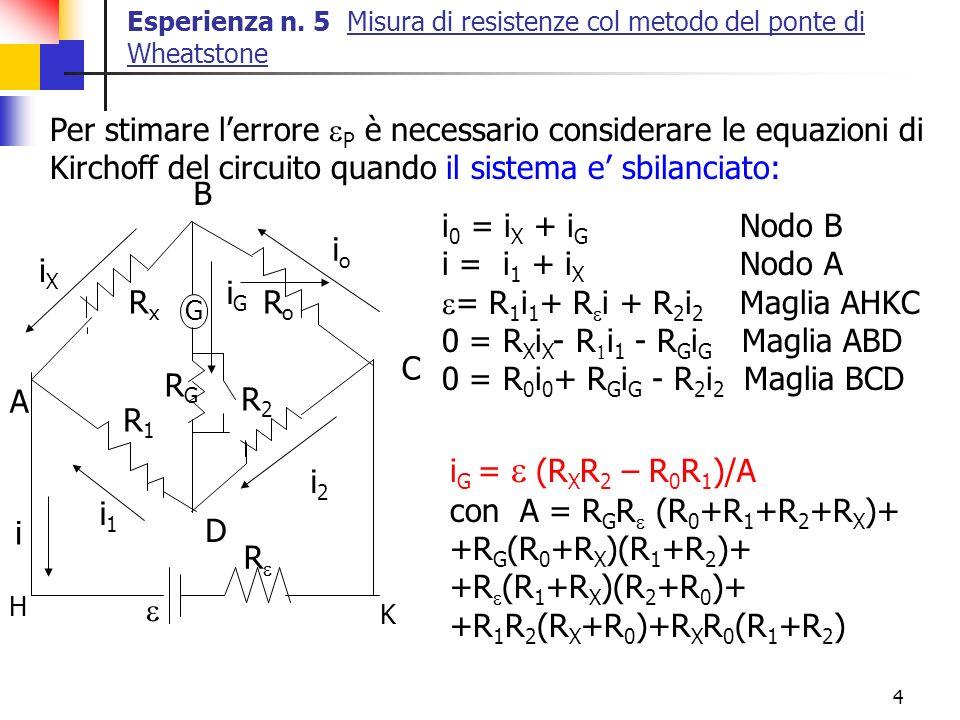 4 Esperienza n. 5 Misura di resistenze col metodo del ponte di Wheatstone Per stimare lerrore P è necessario considerare le equazioni di Kirchoff del