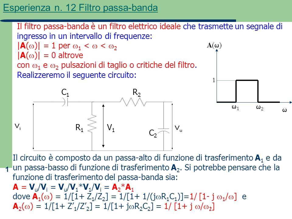 1 Esperienza n. 12 Filtro passa-banda Il filtro passa-banda è un filtro elettrico ideale che trasmette un segnale di ingresso in un intervallo di freq