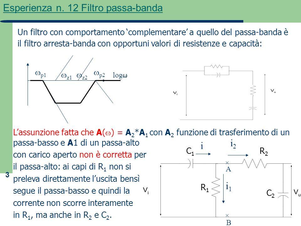 3 Esperienza n. 12 Filtro passa-banda Lassunzione fatta che A( ) = A 2 *A 1 con A 2 funzione di trasferimento di un passa-basso e A1 di un passa-alto